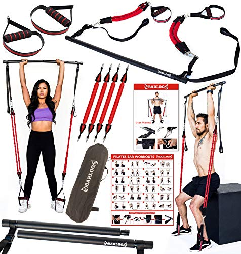Pilates Bar Kit with Extra Resistance Bands - Portable Gym Home Workout | Physical Strength Training, Yoga, Pilates, Stretching | Exercise Guide Wall Poster, Workout Guide and Carry Case Included