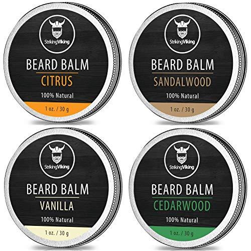 Scented Beard Balm Variety Pack of 4 - All Natural Citrus, Vanilla, Sandalwood, & Cedarwood Sampler Scents for Men - Styles & Conditions with Organic Shea Butter, Argan & Jojoba Oils - Striking Viking