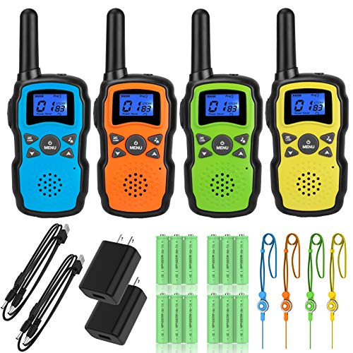 Wishouse Walkie Talkies for Adults Rechargeable 4 Sets with 2 Usb Chargers 4X3000mAh Batteries Lanyards,Family Walky Talky Handheld 2 Way Radio Long Range for Hiking Camping,Xmas Birthday Gift Present