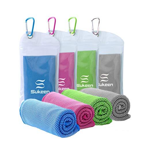 [4 Pack] Cooling Towel (40'x12'),Ice Towel,Soft Breathable Chilly Towel,Microfiber Towel for Yoga,Sport,Running,Gym,Workout,Camping,Fitness,Workout & More Activities