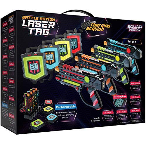 Rechargeable Laser Tag Set + Innovative LCDs and Sync – 4 Infrared Guns & Vests - Gifts for Teens and Adults Boys & Girls - Outdoor Games - Cool Group Activity Family Fun - Gift for Kids Ages 8-12 +