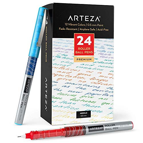 Arteza Rollerball Pens Fine Point, Set of 24 Colored Pens with Liquid Ink, Extra Fine 0.5 mm Needle Tip Pen, Make Precise Lines, Office Supplies for Writing, Notetaking, and Drawing