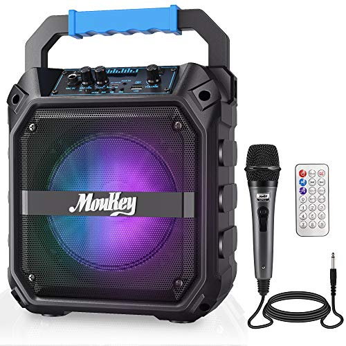 """Moukey Karaoke Machine, 6.5"""" Portable Microphone with Lights, Bluetooth Mic System with Wired Microphone, Rechargeable Karaoke Machine for Adults with Remote Control, FM Radio, Supports TF Card/USB"""