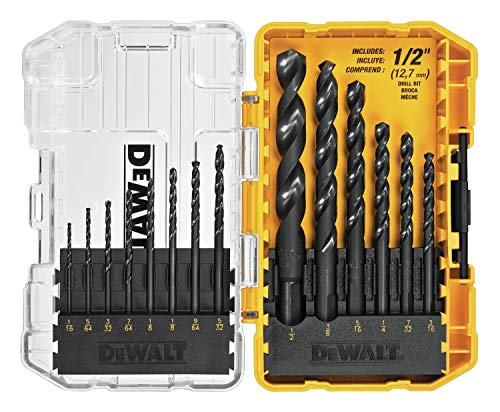 DEWALT DWA1184 14Piece Set Black Oxide Coated HSS Twist Drill Bit Set