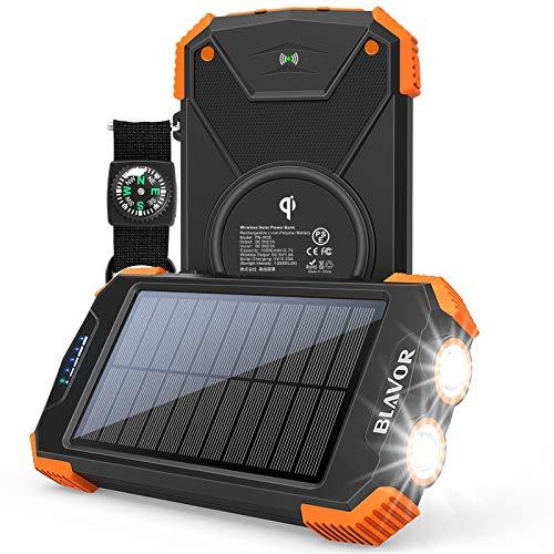 Solar Power Bank, Qi Portable Charger 10,000mAh External Battery Pack Type C Input Port Dual Flashlight, Compass, Solar Panel Charging (Orange)