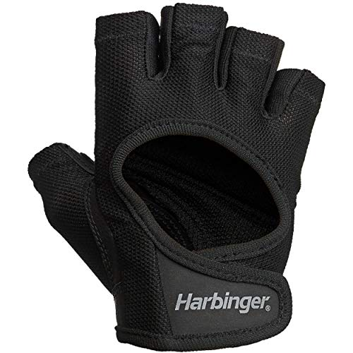 Harbinger Women's Power Workout Weightlifting Gloves with StretchBack Mesh and Leather Palm (1 Pair) Black/Black Small