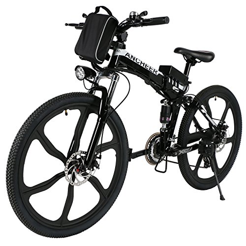 ANCHEER Electric Bike Folding Electric Commuting Bike/Mountain Bike with 26' Magnesium Alloy Integrated Wheel, Premium Front and Rear Suspension and 21 Speed Gears
