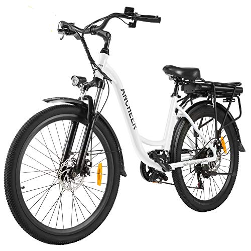 ANCHEER 26' Aluminum Electric Bike, Adults Electric Commuting Bicycle with Removable 12.5Ah Battery, Professional Derailleur with 6 Speed City Ebike
