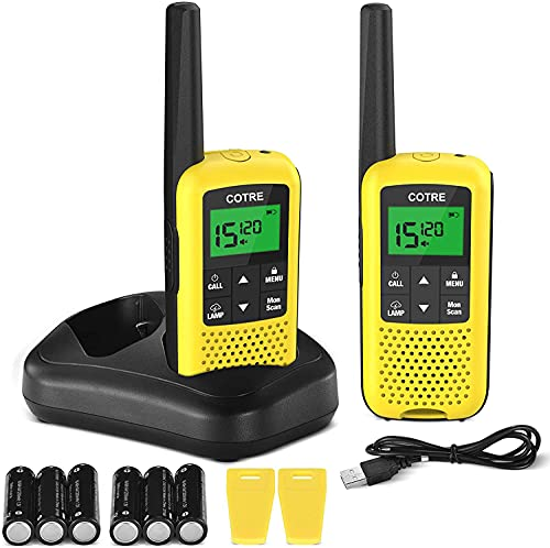 Walkie Talkies for Adults - COTRE Two Way Radios, Up to 32 Miles Long Range USB Rechargeable Walkie Talkies w/ 2662 Channels, NOAA & Weather Alerts, VOX Scan, LED Lamp for Outdoor Activities, Yellow