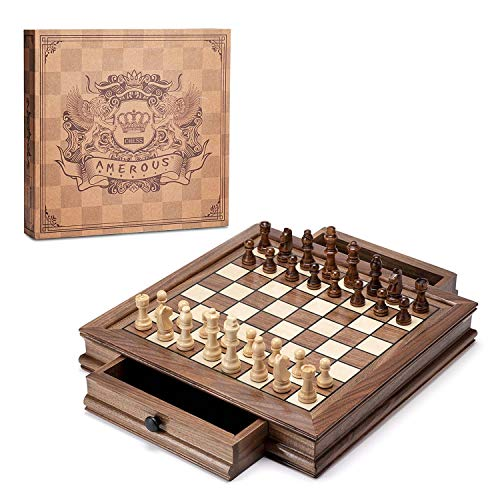 AMEROUS Magnetic Wooden Chess Set, 12.8' x 12.8' Chess Board Game with 2 Built-in Storage Drawers - 2 Bonus Extra Queens - Chess for Beginner, Kids and Adults, Gift Packaging