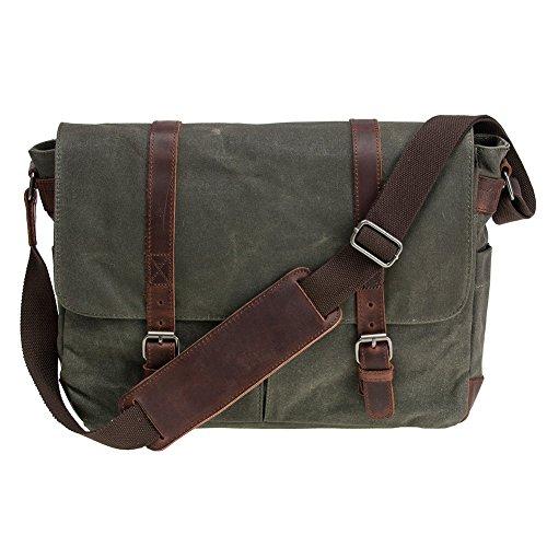 Waterproof Waxed Canvas 15' Macbook pro/ 15.6'' Laptop Messenger Bag Men Business Vintage shoulder bag/Briefcase