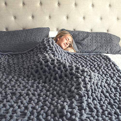 HEARTH & STONE Chunky Knit Blanket - Cozy Chunky Knit Blanket Throw, Knitted Throw Blanket - Chunky Blanket, Crochet Blanket, Cable Knit Throw Blanket Chunky Yarn Blanket Braided Blanket (Slate Grey)