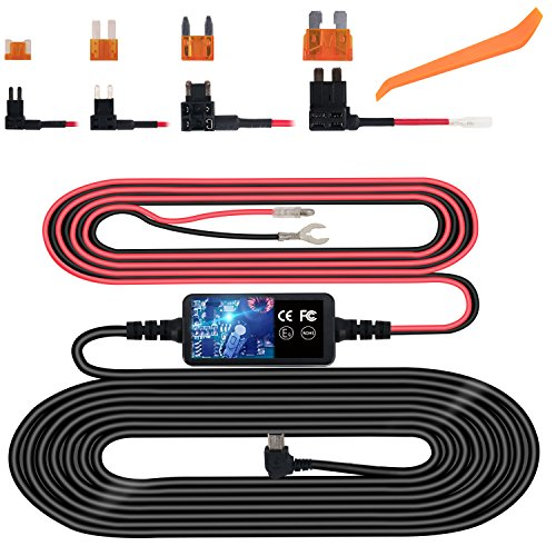 Dash Cam Hardwire Kit, Mini USB Hard Wire Kit Fuse for Dashcam, Plozoe 12V-24V to 5V Car Dash Camera Charger Power Cord, Gift 4 Fuse Tap Cable and Installation Tool(11.5ft