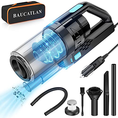 Baucatlan Car Vacuum with Powerful Suction, Portable Car Vacuum Cleaner with 16.4 Ft Corded, 12V/150W/7500PA, Car Cleaning Kit with Three-Layer HEPA Filter for Deep Cleaning