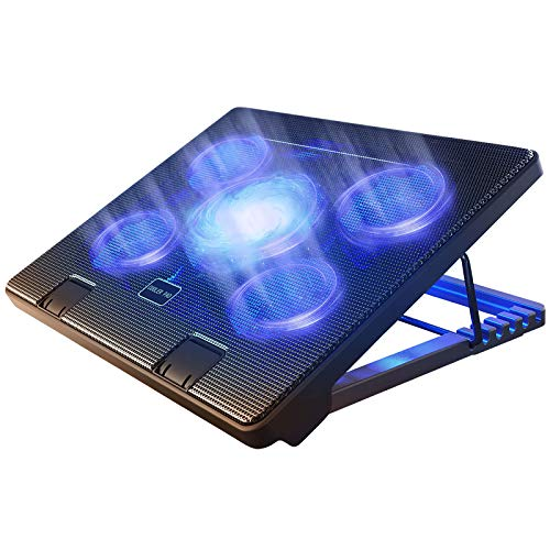 Kootek Laptop Cooling Pad 12'-17' Cooler Pad Chill Mat 5 Quiet Fans LED Lights and 2 USB 2.0 Ports Adjustable Mounts Laptop Stand Height Angle, Blue