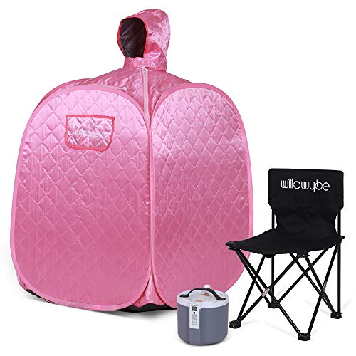WILLOWYBE Portable Personal Steam Sauna Home Spa, an Indoor Steam Sauna for Relaxation, Detox and Therapeutic, Pink