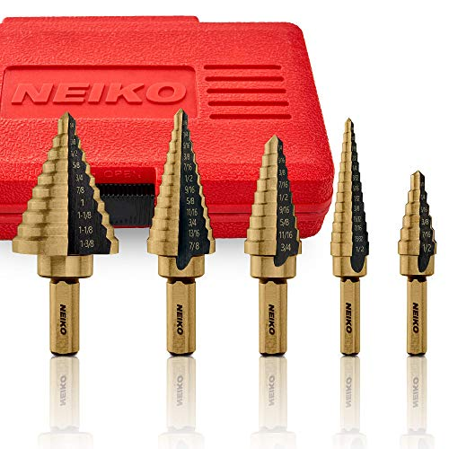 Neiko 10197A Titanium Step Drill Bit Set, High Speed Steel | 5-Piece Set | Total 50 Sizes