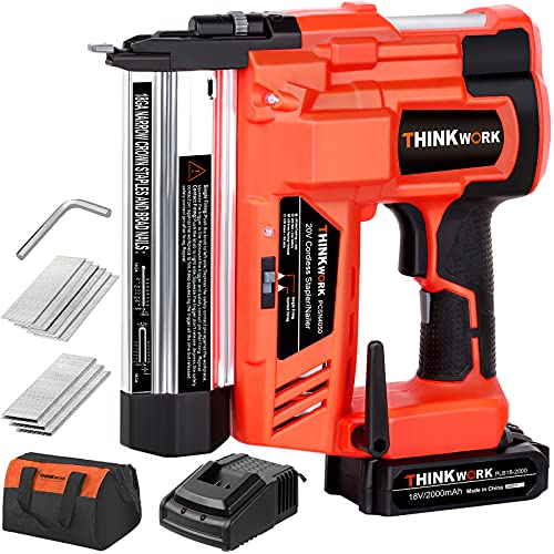 THINKWORK 20V 18 Gauge Cordless Brad Nailer, Durable Nail Gun Battery Powered - (2 in 1 Dual Mode) with Powerful Battery&Fast Charger, 1000 Nails, Single or Contact Firing for Woodworking, Renovation