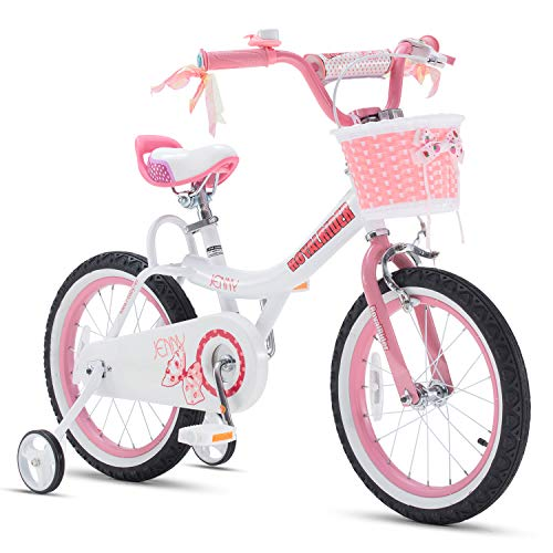RoyalBaby Girls Bike Jenny 16 Inch Girl's Bicycle With Training Wheels Kickstand Basket Child's Cycle Pink