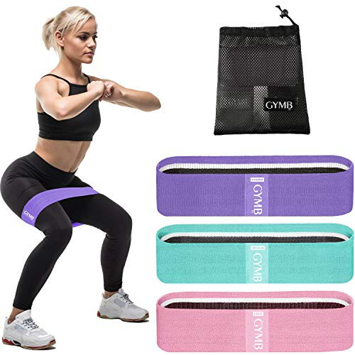 3 Fabric Resistance Bands for Legs and Butt, Loop Exercise Bands, Booty Workout Bands for Women, Glute Bands, Non Slip Squat Bands with 3 Resistant Levels, Video Included