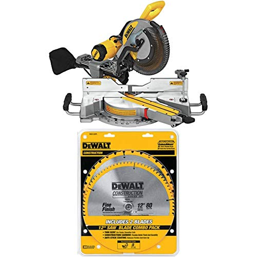 DEWALT DWS779 12' Sliding Compound Miter Saw and 80 Tooth and 32T ATB Thin Kerf 12-inch Crosscutting Miter Saw Blade, 2 Pack