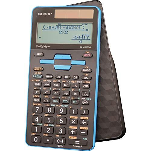 Sharp Calculators EL-W535TGBBL 16-Digit Scientific Calculator with WriteView, 4 Line Display, Battery and Solar Hybrid Powered LCD Display, Black & Blue, Black, Blue, 6.4' x 3.1' x 0.6' x 6.4'