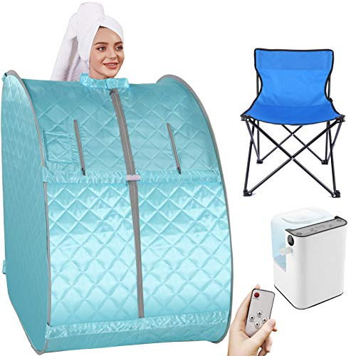 Angotrade Portable Steam Sauna, Personal Indoor Sauna Tent Remote Control&Chair&60 Minute Timer Included, One Person Sauna for Therapeutic Relaxation at Home (29.5 x 35 x 40.3inch, Green Grey)