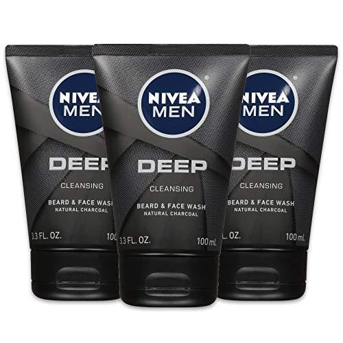 Nivea Men Deep Cleansing Beard and Face Wash, Natural Charcoal, 9.9 Fl Oz , Pack of 3