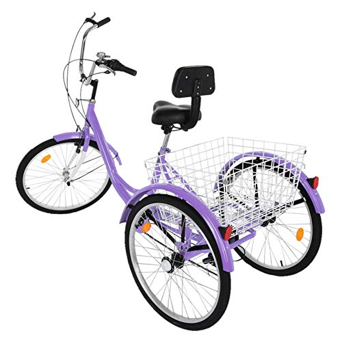 (US.Stock) 3-Wheel Cruiser Bikes,1/7 Speed Adult Tricycle with Baskets for Shopping W/Installation Tools(Load Capacity 330 lbs) for Men and Women (Purple)