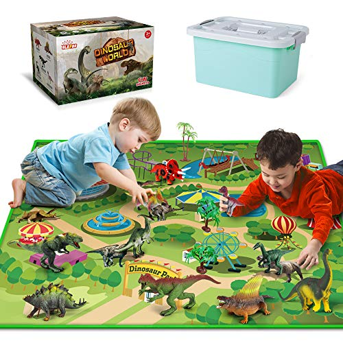 Dinosaur Toys with Dinosaur Figures, Activity Play Mat & Trees for Creating a Dino World Including T-Rex, Triceratops, etc, Perfect Dinosaur Playset for 3,4,5,6 Years Old Kids, Boys & Girls