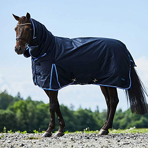 HORZE Glasgow Medium Weight Waterproof Combo Turnout Winter Horse Blanket with Neck Cover (150g Fill) - Dark Blue - 78