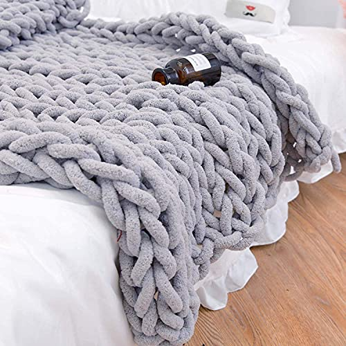 clootess Chunky Knit Blanket Chenille Throw - Warm Soft Cozy for Sofa Bed Boho Home Decor (Grey 40x60 in)