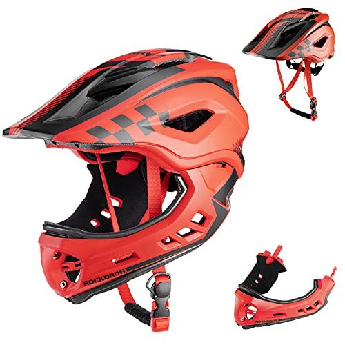 ROCKBROS Bike Helmets for Kids Full Face Mountain Bike Helmet Lightweight Bike Helmet Toddler Cycling Bicycle Helmet for Youth Toddlers Detachable Skateboard BMX Helmet Age 3-15 Year