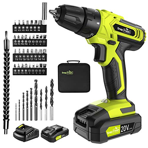 Cordless Drill - 20V Cordless Drill with Battery & Charger, Impact Drill Set for Home, Power Drill Driver with Infinitely Variable Speed Control, Electric Drill Combo Kit (Battery & Charger Included)