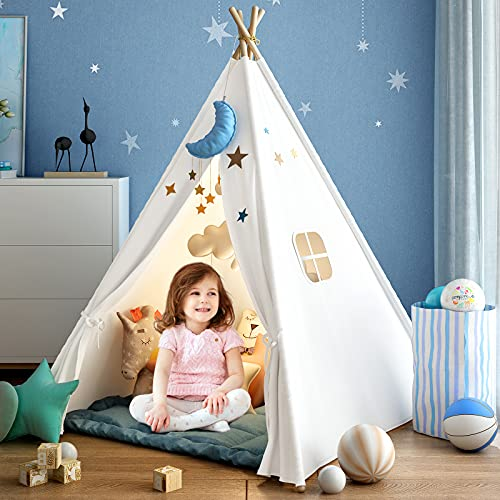 Kids Teepee Tent for Girls or Boys with Carry Case, Foldable Play Tent for Kids or Toddler Suit for Indoor and Outdoor Play, Protable Kids Playhouse Children Tent