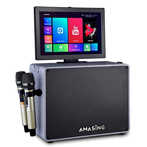 MASINGO Karaoke Machine with Lyrics Display Screen for Adults and Kids - Bluetooth Portable Singing PA Speaker System with WiFi, Built-in 15-inch Tablet + 2 Wireless Microphones (AMASING Alto X6 Grey)