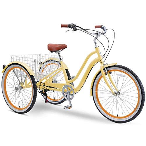 sixthreezero EVRYjourney 26 Inch 7-Speed Hybrid Adult Tricycle with Rear Basket, Cream, One Size (630334)