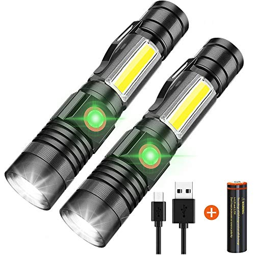 LED Flashlight Rechargeable, 1000 Lumens Super Bright Magnetic Flashlight with COB Work Light, Waterproof, 4 Modes, iToncs Pocket Tactical Flashlights for Outdoor Camping Emergency 2 Pack