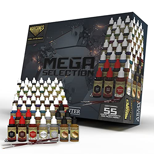 The Army Painter- Wargames Delivered Mega Selection Model and Miniature Paint Set- Model Paints for Plastic Models- Miniature Painting Kit with 55 Model Paints, Mixing Bottles, Mixing Balls & Brushes