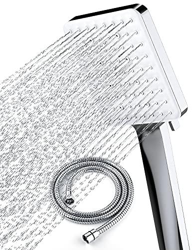 Newentor High Pressure Shower Head with handheld, 6 Spray Settings Handheld Shower Head with 59' Stainless Steel Shower Hose and Adjustable Bracket