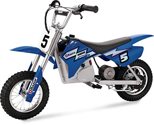Razor MX350 Dirt Rocket Electric Motocross Off-road Bike for Age 13+, Up to 30 Minutes Continuous Ride Time, 12' Air-filled Tires, Hand-operated Rear Brake, Twist Grip Throttle, Chain-driven Motor