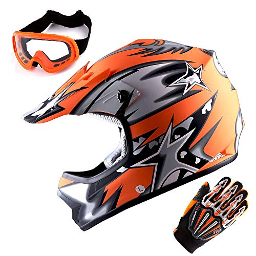 WOW Youth Motocross MX BMX Helmet Kids Motorcycle Bike Helmet Matt Star Orange + Goggles + Skeleton Orange Glove Bundle