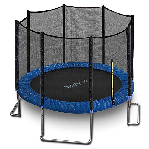 10ft ASTM Approved Trampoline with Net Enclosure – Stable, Strong Kids and Adult Trampoline with Net – Outdoor Trampoline for Kids, Teens and Adults – Reinforced Kids, Blue, (Model: SLTRA10BL)
