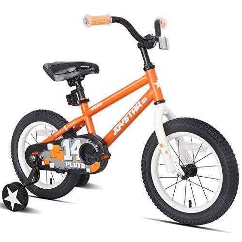 JOYSTAR 18 Inch Pluto Kids Bike with Training Wheels for Ages 6 7 8 9 Year Old Boys Girls Junior Children BMX Bicycle Orange