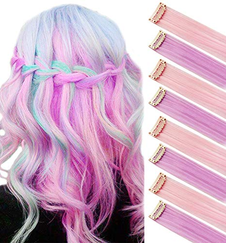 SARARHY Light Pink Light Purple Fashion Hair Accessories Clip in/On Wig Pieces for Amercian Girls and Women Colored Hair Extension