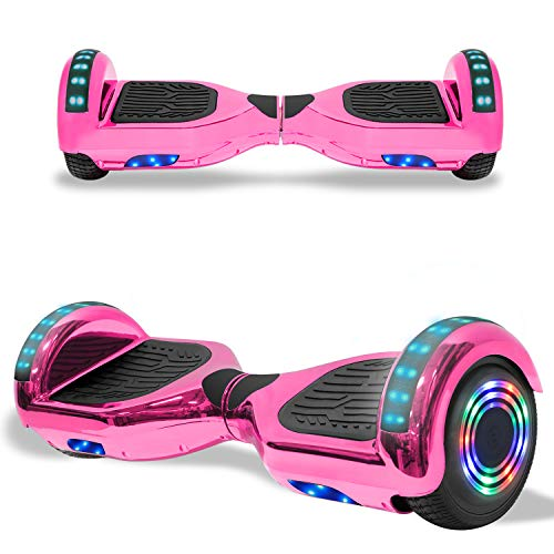 TPS Electric Hoverboard Self Balancing Scooter for Kids and Adults Hover Board with 6.5' Wheels Built-in Bluetooth Speaker Bright LED Lights UL2272 Certified (Chrome Pink)