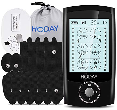 Tens Unit Muscle Stimulator, HODAY Dual Channel TENS EMS Unit 24 Modes for Pain Relief Therapy, Rechargeable Electronic Pulse Muscle Massager with 12 Pads, Dust-Proof Storage Bag, Fastening Cable Ties