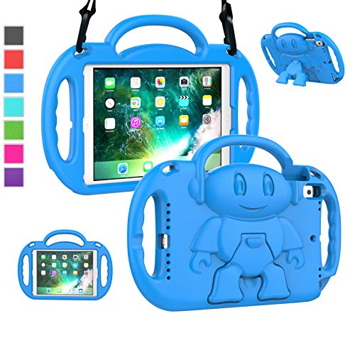 LTROP iPad 6th Generation Case, iPad 9.7 Case, iPad 5th Generation Case for Kids, Shockproof Shoulder Strap Protective Kids Case for iPad 9.7' 2018 (6th Gen)/ 2017 (5th Gen)/ iPad Air 2/ Air 9.7, Blue
