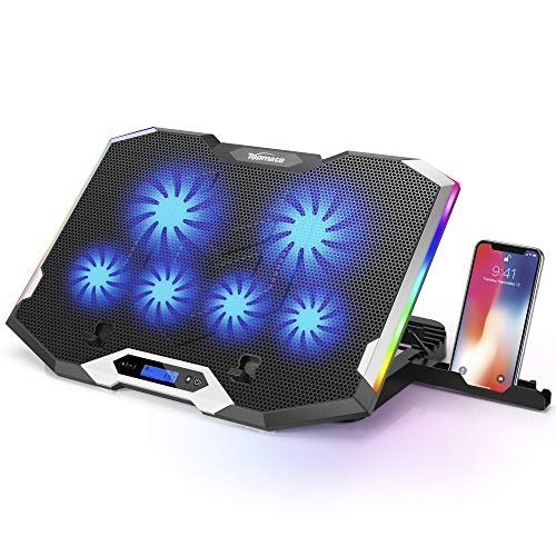 TopMate C11 Laptop Cooling Pad Silver Wing Cooler, RGB Lighting Laptop Cooler Fan Compatible 11-17.3' Laptop, 6 Fans Strong Wind and 7 Lighting Mode Adjustable Angle