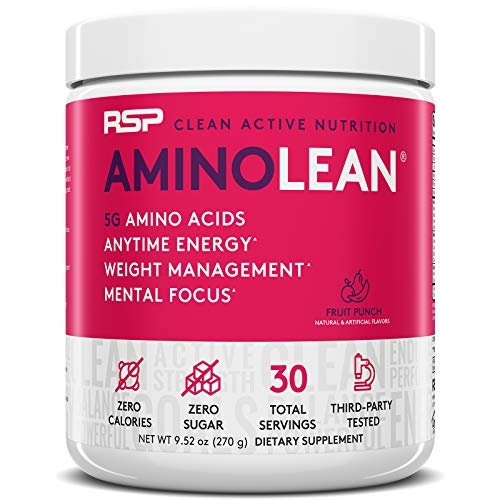 RSP Nutrition AminoLean - All-in-One Pre Workout, Amino Energy, Weight Management Supplement with Amino Acids, Complete Preworkout Energy for Men & Women, Fruit Punch, 30 (Packaging May Vary)